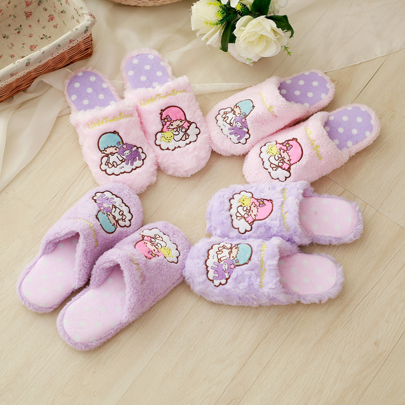 candice guo! cute plush toy little twin star soft warm household floor slippers pink purple girls birthday Christmas gift 1paircandice guo! cute plush toy little twin star soft warm household floor slippers pink purple girls birthday Christmas gift 1pair