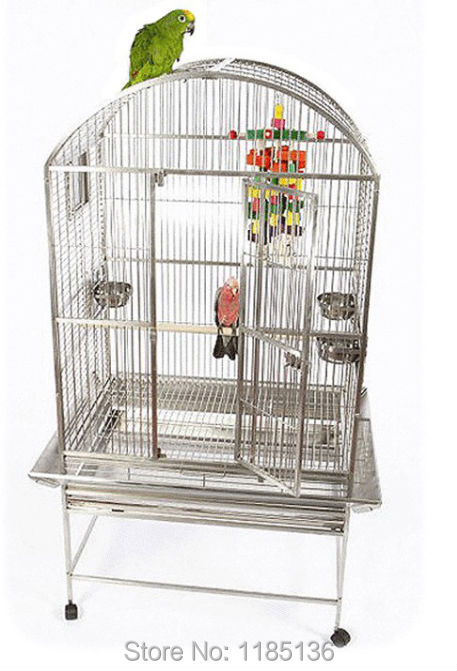 304 Из Нержавеющей Стали Клетке Попугай Open Top Клетка Для Птиц Попугаев Ара 28*22*61 ''ST65R