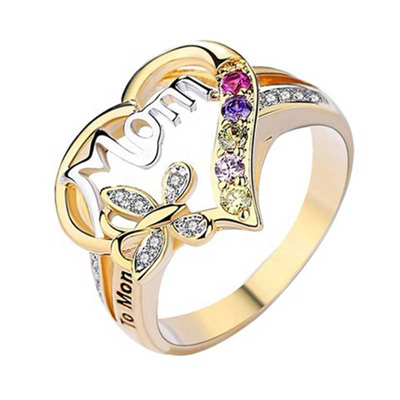2019 Vintage Silver Heart Love MOM Rings Stainless Steel Cuff Ring Women Jewelry For Birthday Mother's Day Gift  Mom Ring