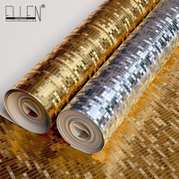 Luxury glitter mosaic gold foil wallpaper silver metallic wallpaper,commerce use golden lattice gram wall paper