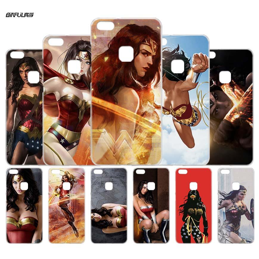 Binful Wonder Woman DC Superhero 2 прозрачный чехол В виде ракушки для Huawei P6 10 9 8 Lite 2017 плюс Коврики 8 9 10 s Lite Pro