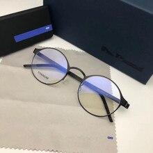 Pure Hand-made Titanium Glasses Frame Men Vintage Round Screwless Eyewear Optica
