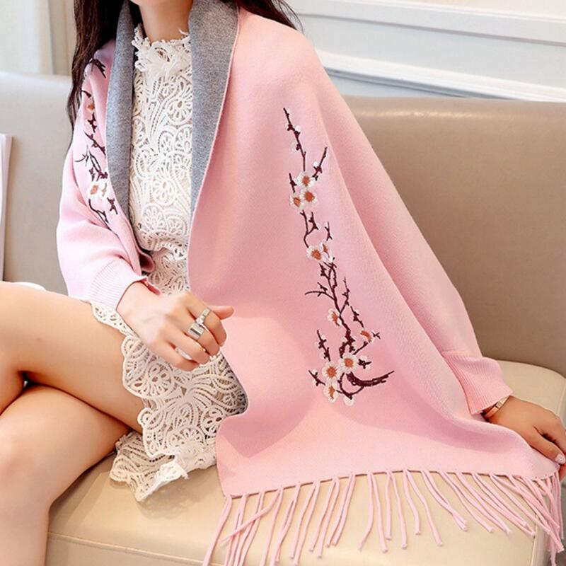 Knit Cardigan Shawl Female 2019 Autumn And Winter Embroidered Tassel Bat Shirt Coat Long Sleeve Temperament Long Section