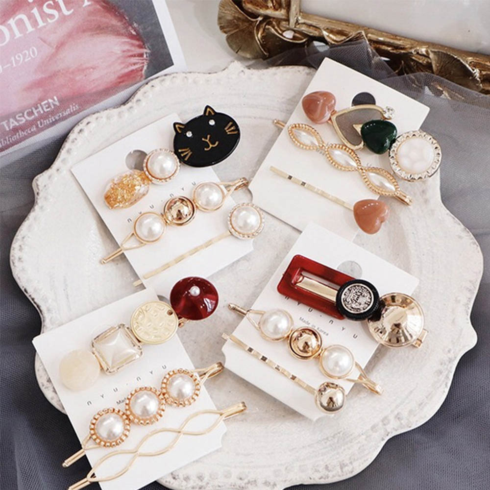 Women Girl Retro Pearl Crystal Barrette Hair Clip Stick HairPin Hair Accessories