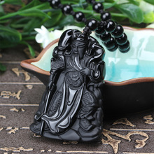 Natural Black Obsidian Stone Carved Guan Yu Pendant Necklace Mammon Guan Gong Lucky Amulet Gift For Men Jades Jewelry