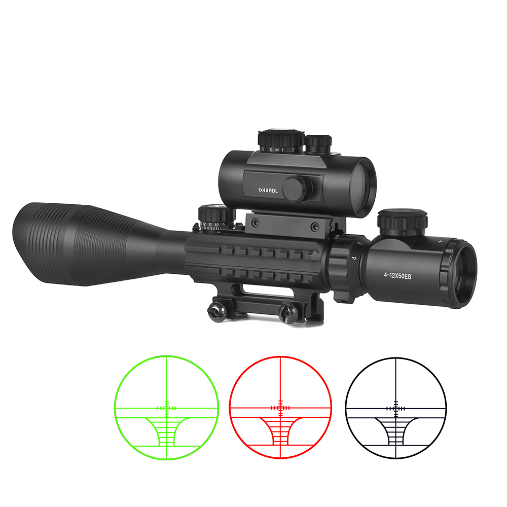 Hunting Scope 4-12x50EG Tratical Riflescope With 1x40 Red Dot Laser Optical Sight Compact 3 IN 1 Combo Sniper Collimator Sight