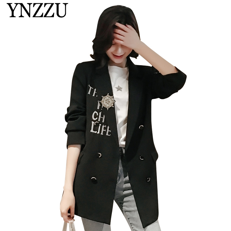 Korean Style Embroidery Casual Blazer Women 2019 Spring Autumn Double Breasted Coat Letter Women Blazers And Jackets AO944