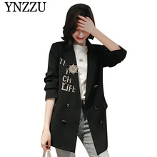 Korean Style Embroidery Casual Blazer Women 2019 Spring Autumn Double Breasted Coat Letter Blazers and Jackets AO944