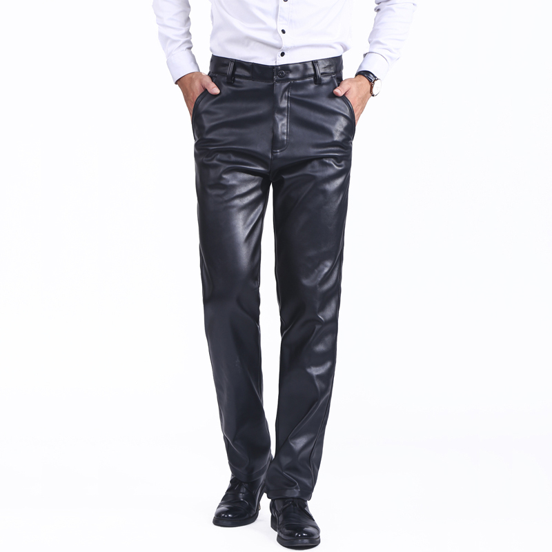Thoshine Brand Spring Summer Autumn Men Leather Pants Straight Moto & Biker Trousers Male PU Faux Leather Trousers Casual Pants