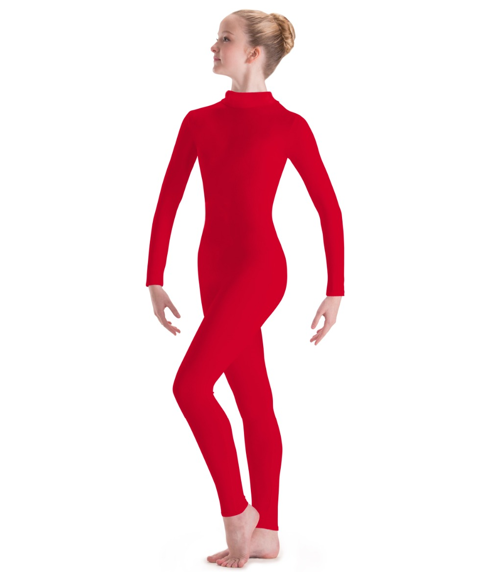 Adult Lycar Red Nylon Womens Long Sleeve Turtleneck Unitards Gymnastics Footless Spandex Mock Neck Catsuit Ladies