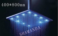 Hot Sale Seconds Kill Free Shipping 400*800mm Led Shower Head with Stainless Steel Self powered Light Three Color 20023