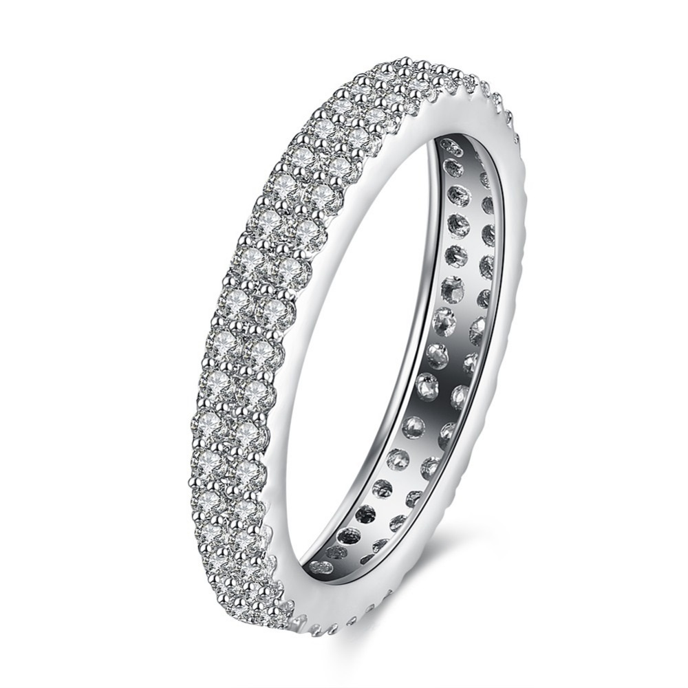 forever love wedding band rings silver color double row aaa cz finger lovers rings for women - Double Band Wedding Ring