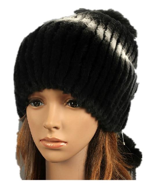 H908-2015 new  hand knitted  women's autumn winter yarn warm cap with  3 fox pompom.natural  rex rabbit hair  ladies fur hats