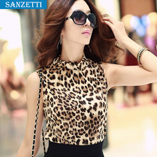c2bff41cf0ec New Fashion 2015 Women Wild Leopard Print Chiffon Blouse Lady Sexy  Sleeveless Top Shirt turtleneck Leopard Blouse Free shipping-in Blouses    Shirts from ...