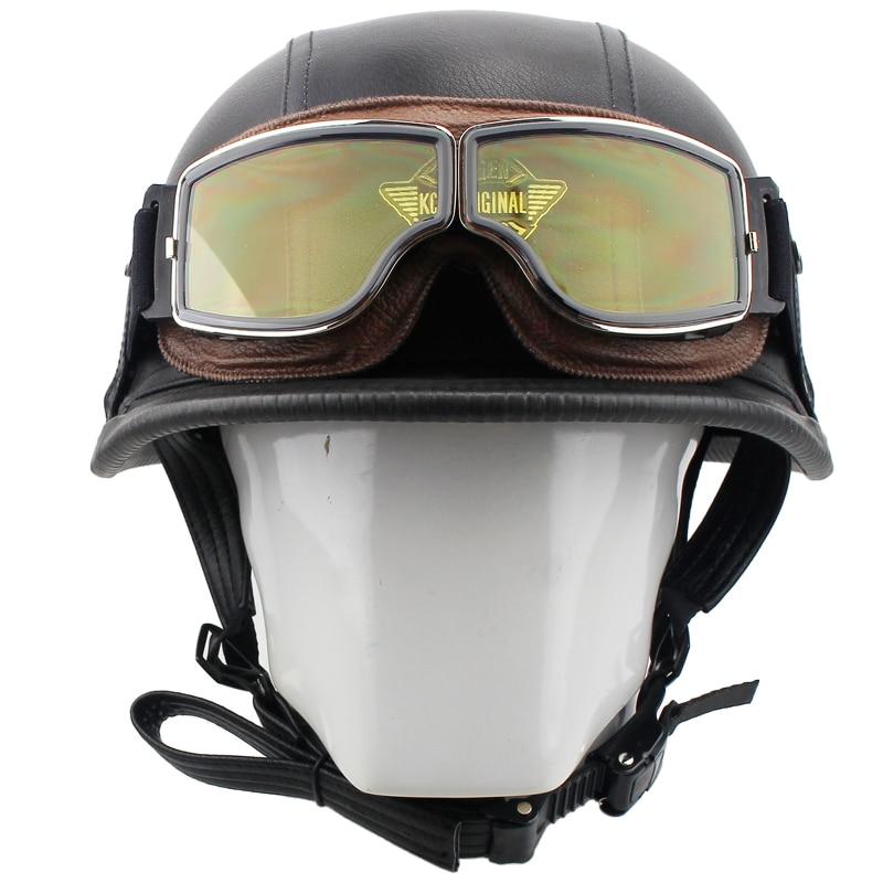 VOSS Motorcycle Helmet Motorcross Vintage Helmet For Scooter Leather Crash Helmet Windproof Open Face Harley Helmets