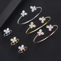 missvikki Full Cubic Zircon Cute Butterfly 6 PCS Bracelets Rings Jewelry Set for Women Bridal Actor Dancer Stage Performance