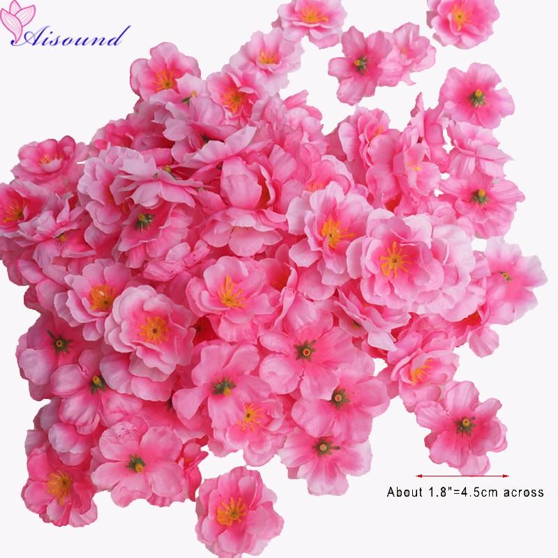 50pcs  Artificial Silk Peach Blossom Flowers DIY Craft Floral Supplies Wedding Decoration Fake Peach Heads New Year Party Decor