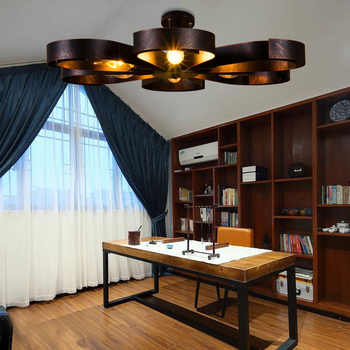 American retro ceiling loft creative personality cafe iron industrial light ultra-thin living room bedroom ceiling lamp led lamp
