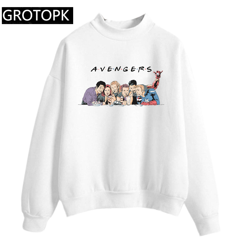 2019 Autumn New Fashion Pink And White Avengers Endgame Friends Hoodies Women O-neck Pullover Marvel Avengers Sweatshirt Female