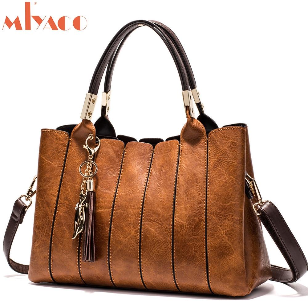 MIYACO Luxury Women Handbag Vintage brown Female Totes Shoulder Bag Messenger Bag Leather Top HandBags with