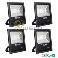 4 PCS 100W Black Shell Ultra Slim LED Flood Light Garden Waterproof Outdoor Lamp IP65 Cool