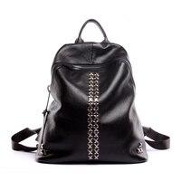Genuine Top Leather Solid Black XX Rivet women Backpack Cool Rock Style Zipper Travel Shoulder Bags Schoolbag Ladies Knapsack