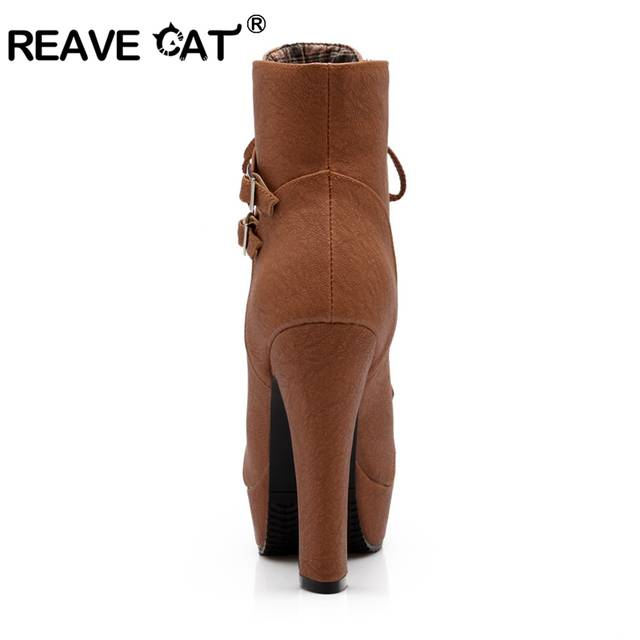 9c22e19cf € 25.46 45% de réduction|REAVE CAT grande taille bottines pour femmes  plateforme talons hauts femme chaussures à lacets femme boucle botte courte  ...
