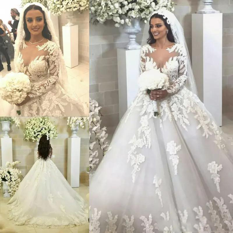 Princess Lace Ball Gown Vestido de noiva Long Sleeve Sheer Jewel Neck Lace Wedding Gowns Court Train Appliqued Bride Dress