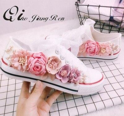 Zapatillas de verano cuñas zapatos de lona zapatos casuales de mujer hechos a mano personalizado tridimensional lentejuelas flores blanco plano