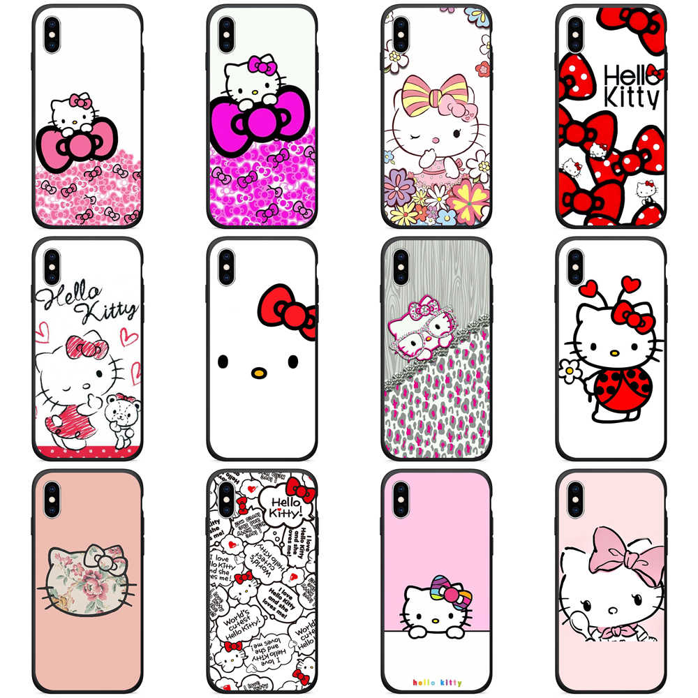TPU funda para iPhone x carcasa trasera de silicona Hello Kitty para el iPhone 8 Plus 6 6s se x xr xs max 5S