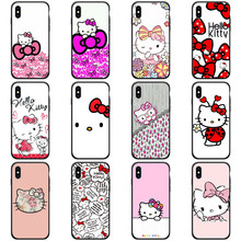 TPU funda para iPhone x carcasa trasera de silicona Hello Kitty para el iPhone 8 Plus 6 6s se x xr xs max 5S(China)