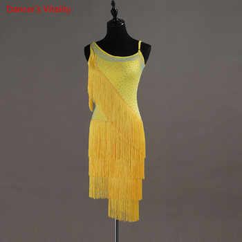 2018 NEW Custom Made Competition Latin/Women/girls Dance Dress Rumba Skirt Ballroom Stage Costumes Tassel Dance Dress