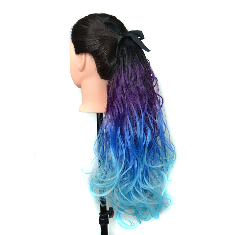 Hot sale hair jewelry 75g 45cm synthetic hair accessories extension curly ombre colors hairwear for fashion womens ponytails