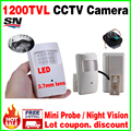 Free shipping Night Vision 20m Probe Infrared ahdl Camera 1/3 CMOS 1200TVL 18led HD CCTV Security Surveillance Color 3.7mm Lens