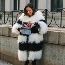 X-long 80CM length women's genuine Mongolia sheep fur coats Russian style winter thick warm whole skin lamb fur coat for women
