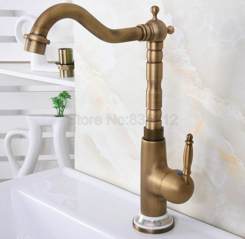 Antique Brass Bath//Kitchen Sink Faucets 360 Swivel Spout Cold /& Hot Mixer Taps