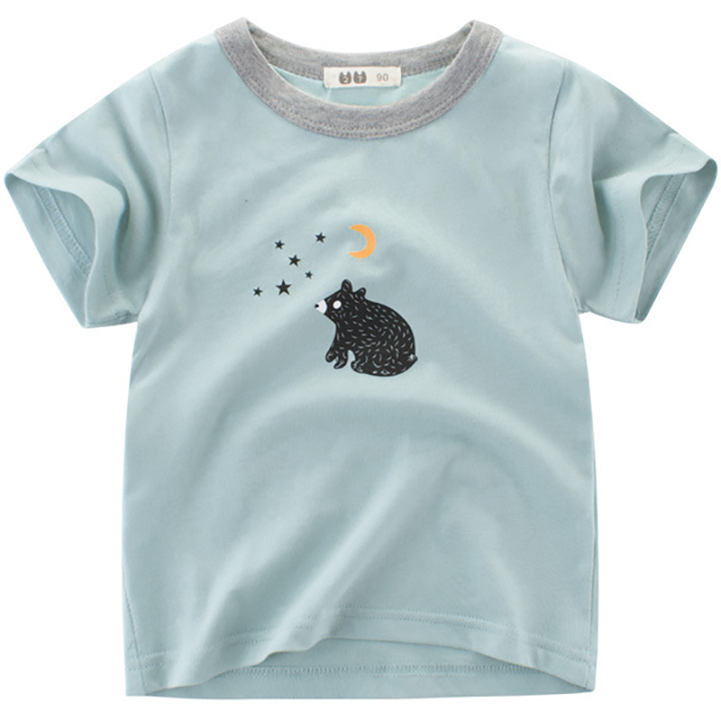 New Boys T-Shirts Cute Fun Bear Design Girls Tops Summer 2018 Kids Clothes 100% Cotton Children Half Sleeve Tshirt Baby Clothing