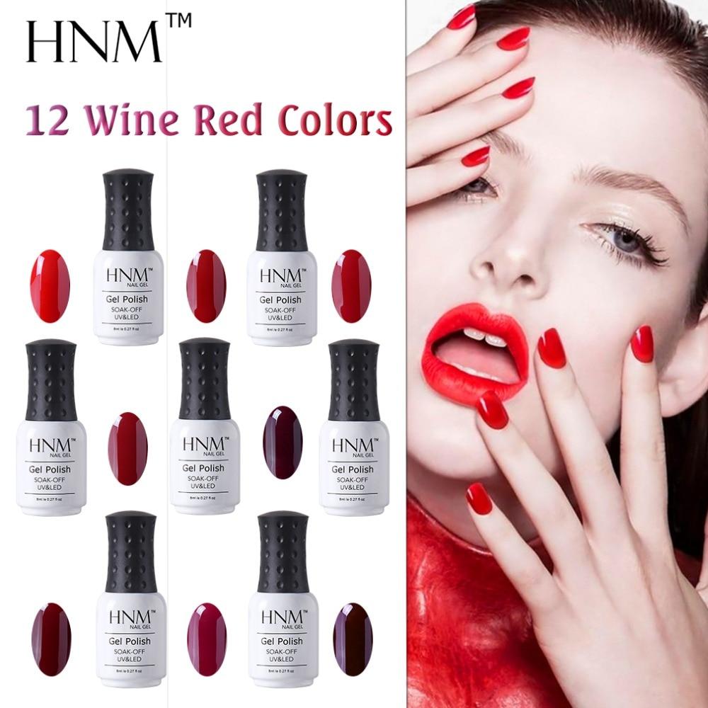 Wine Colored Nail Polish: HNM Gel Varnish Set Tools Red Wine Color Nail Polish Set