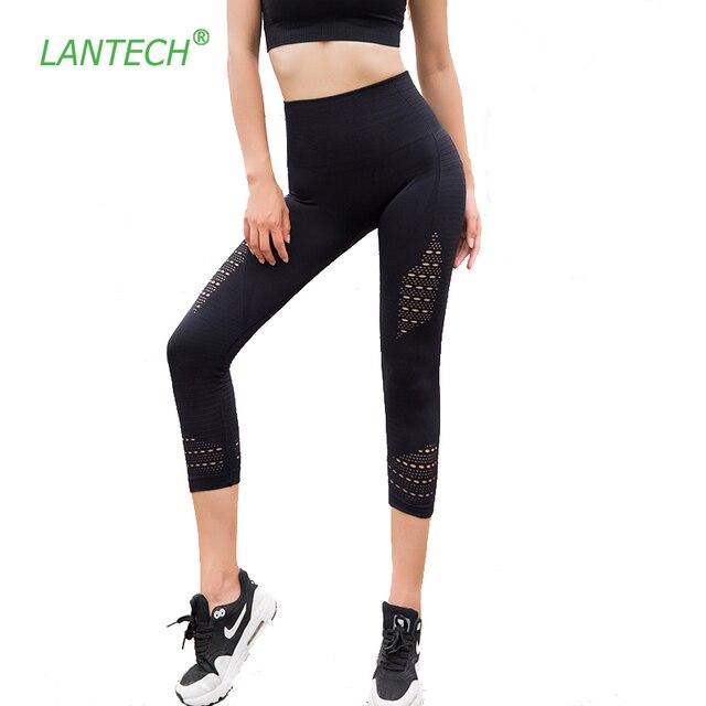 LANTECH леггинсы для занятий йогой, спортом капри брюки спортивная одежда для бега эластичные фитнес бедра пуш-ап Бесшовные Спортивные Компрессионные колготки женские