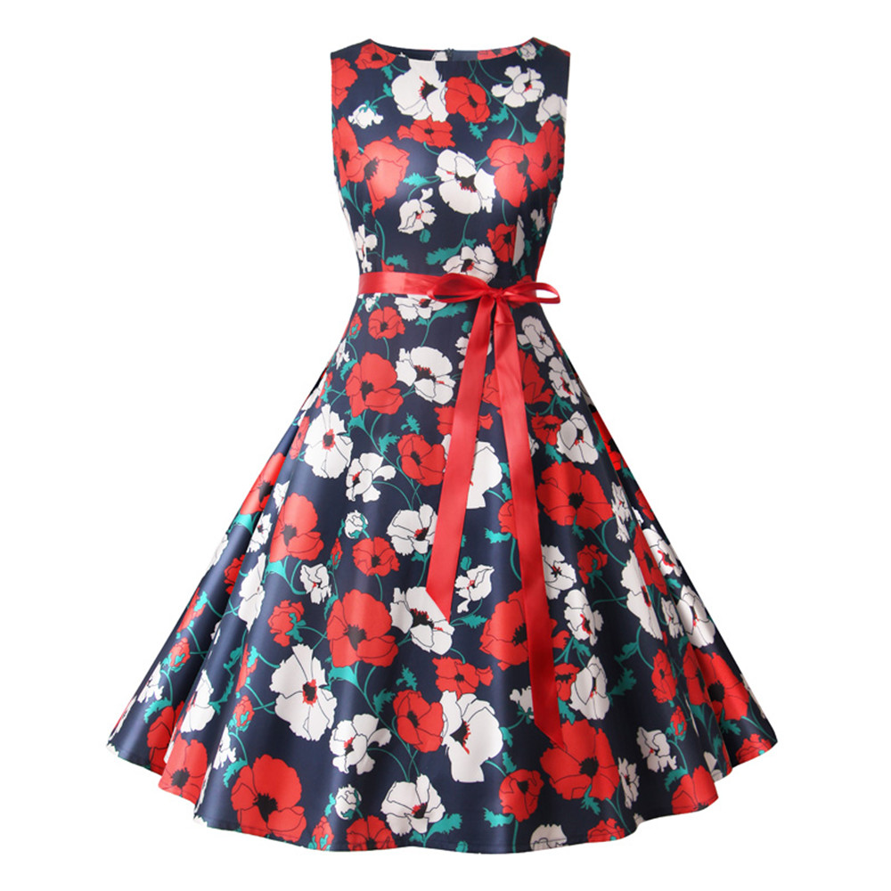 Women Summer Dress Ladies Floral Retro Vintage Dresses 50s 60s Casual Party Robe Rockabilly Dress Plus Size Vestidos Mujer