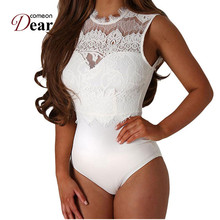 Comeondear Sexy Bodysuit Women Black White Lace High Neck Cut Out Back Macacao F