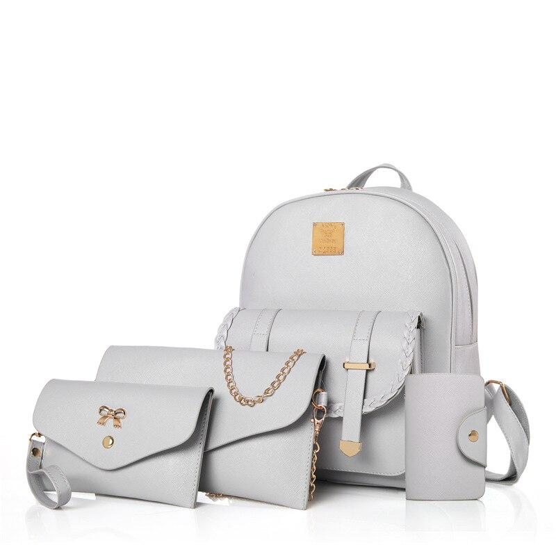 4 шт./компл. Для женщин рюкзак Водонепроницаемый PU Материал Сумка Высокое качество и льготная сумки элегантный и простой Бесплатная доставк...