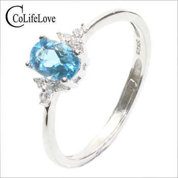 Fashion sky blue topaz ring for engagement 4 mm * 6 mm natural topaz silver ring solid 925 silver topaz romantic gift for gift