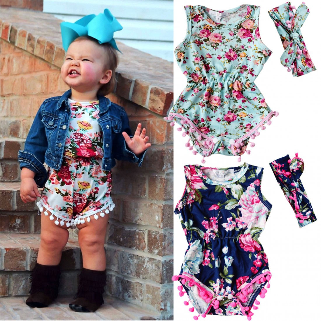 3 Styles Newborn Babies Girls Summer Floral Bodysuits Baby Kids Flower Sleeveless Bodysu ...