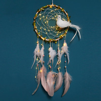 Standing White Bird Dream Catcher Dreamcatcher 20 LED Lighting Girl Room Bell Bedroom Romantic Hanging Decoration With Lights