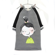 2016 winter girl dress striped long-sleeve kids clothing thick warm autumn cute girls dresses for children 2-7T christmas gift