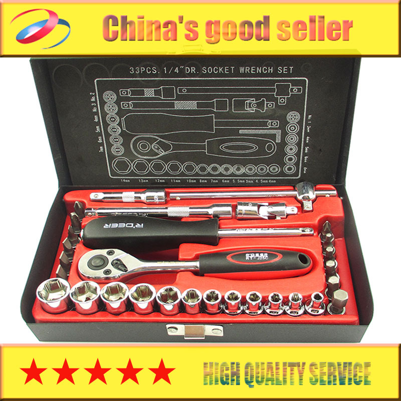 flying deer 33-in-1 car repair sleeve Auto Repair Auto Repair Tool Set Auto insurance ratchet socket wrench xkai 14pcs 6 19mm ratchet spanner combination wrench a set of keys ratchet skate tool ratchet handle chrome vanadium