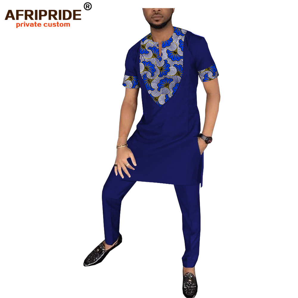 2019 الربيع الأفريقي طباعة سراويل تقليدية مجموعة للرجال AFRIPRIDE قصيرة الأكمام طويلة أعلى + كامل طول السراويل الرجال القطن مجموعة A1816009-في مجموعات للرجال من ملابس الرجال على  مجموعة 1