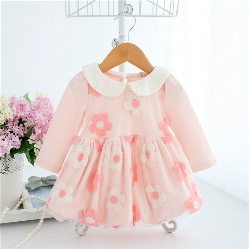 Baby Christening Ball Gown Baptism Clothes Newborn Flowers Embroidery Kids Girls Birthday Princess Infant Party Mesh Dresses