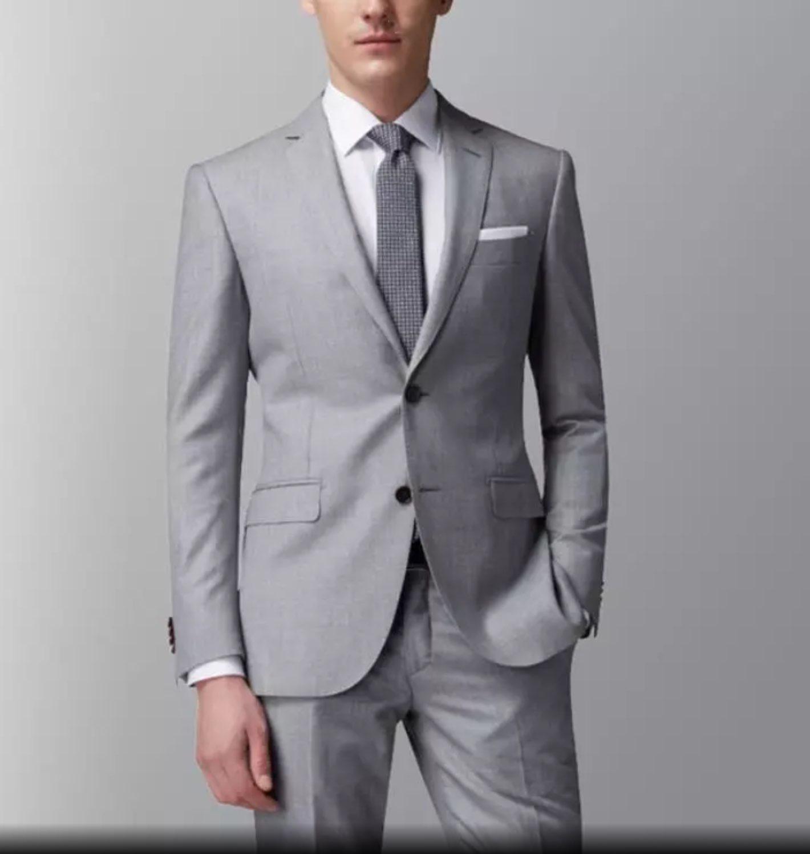 สีเทา Notch Lapel ผู้ชาย Slim Fit สูทอย่างเป็นทางการผู้ชายที่กำหนดเองทำ 2 ชิ้นงานแต่งงาน Tuxedos ชุดเสื้อและกางเกง terno Masculino-ใน สูท จาก เสื้อผ้าผู้ชาย บน   1